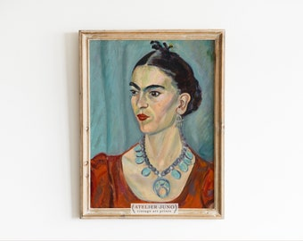 Frida Kahlo portrait vintage oil painting print 8x10 gallery wall