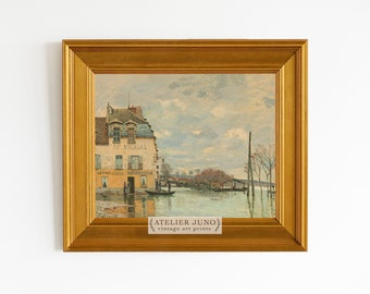 Vintage French oil painting art print gallery wall landscape neutral decor