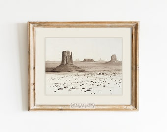 Vintage desert sketch art print black and white ink drawing California bohemian southwest western