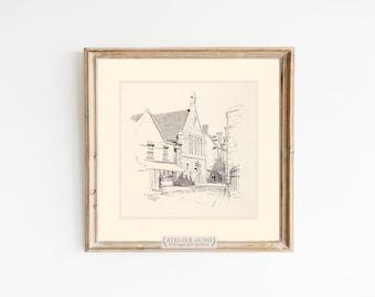 Vintage sketch English village street scene drawing art print farmhouse rustic