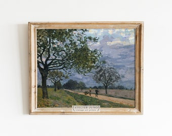 Vintage French landscape rural oil painting print country wall decor Impressionism cottage