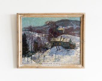 Vintage snow winter painting cabin rustic oil art print landscape countryside rural