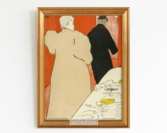 Vintage French poster Toulouse Lautrec theater program Paris
