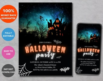Halloween Party Invitation Template, Editable Digital Costume Party Invitation File, Print, Email or Text