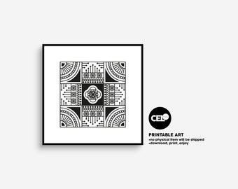 Bohem Printable Wall Art   No:3  Mandala Inspired   Geometric Printable   20x20 Inches   Download & Print  