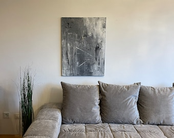 Canvas Abstract Grey Black White 1.0