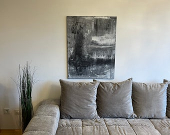 Canvas Abstract Grey Black White 2.0