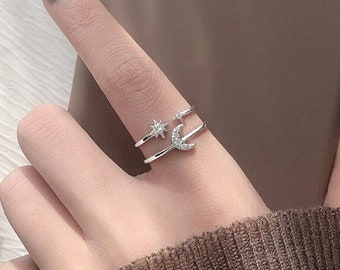 Crystal Moon Star Sterling Silver Adjustable Ring