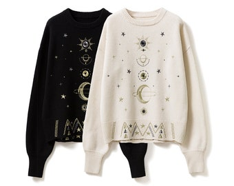 Embroidery Star Moon Planet Knit Sweater Jumper