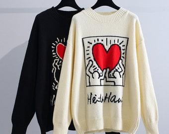 Art Heart Knit Sweater Jumper