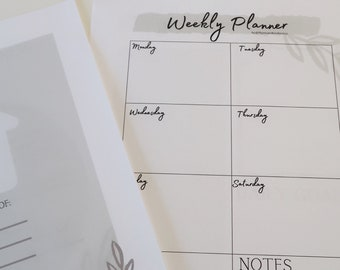 Weekly Planner Sheet by Thyme and Tenderness