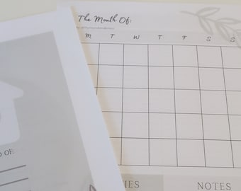 Monthly Planner Sheet by Thyme and Tenderness