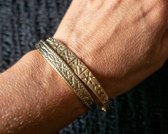 Fine Carved Tribal Brass Bangle, Ethnic Gold Indian Brass Cuff, Rigid Bracelet for Men, Bohemian Women's Brass Bangle