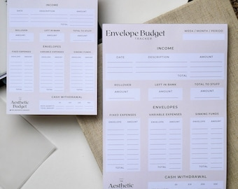 Budget tracker notepad for cash envelope stuffing - A6 & A5