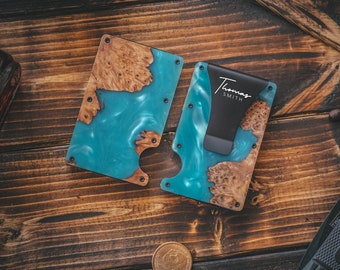 Unique Christmas Gift For Men, Resin Wood Money Clip, Card Holder Wallet, Groomsmen Gifts, Fathers Day Gift, Mens Wallet, Handmade Gift For
