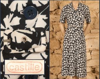 Vintage 70s 'CASTILLE' Floral Dress (size UK14, US10, FR42, D40, IT46)