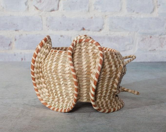 Curvy Elephant Ear Sweetgrass Basket with Palm Rose Holder