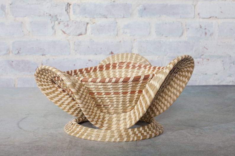 Slanted Elephant Ear Sweetgrass Basket with Pedestal image 1