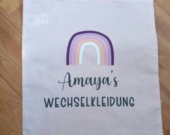 Personalized bag• Kindergarten bag• Change of clothes• Kita• Cotton bag•Gift•