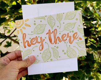 BreastCardEver: Hey There Greeting Card //  spring, birthdays, love, friendship, thinking of you, hola hi hello, generic card pack bulk