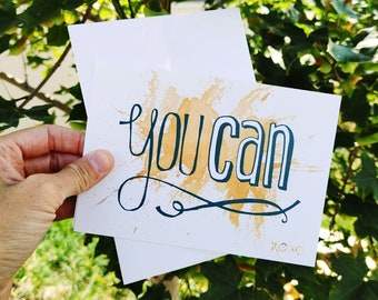 BreastCardEver: You Can. Greeting Card // Bulk pack lot generic greeting cards friends, family, neighbor, job offer, envelope, Encouragement