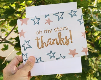 BreastCardEver: Oh my stars, Thanks // Thank You Greeting Cards // Appreciation, Acknowledgement, Gratitude, Recognition, Grateful, Indebted
