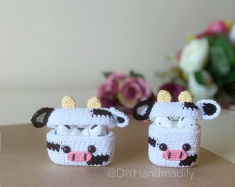 Cow Airpods 1&2, Pro Case - Animals Headphone Case - Crochet Animals Airpods 1/2, Pro Case - Special Gift - Handmade Gift - Love Gift