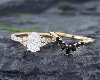Vintage Moissanite engagement ring set Unique Oval yellow gold engagement ring Marquise Black onyx wedding ring Anniversary Promise ring set