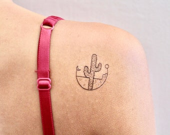 Cactus Temporary Tattoo (Set of 2) / Plant temporary tattoo