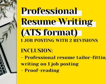 Professional Resume Writing Tailor-fit Job Description   ATS Format CV   Proof-reading