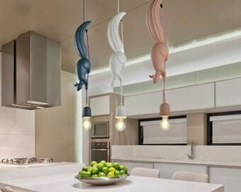 Nordic Resin Squirrel Led Pendant Lights Modern Industrial Hanging Animal Lamp for Children's Room Kitchen Loft Decor Fixtures
