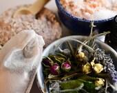 Bath Teabags - Rose, Geranium, Lavender, Oat, Pink Clay & Bath Salts