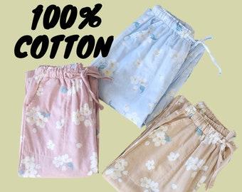 CUTE FLORAL 100% COTTON Women Pj pants Pajama set luxury cherry blossom nightgown nightwear relax soft plus size luxury winter autumn pink