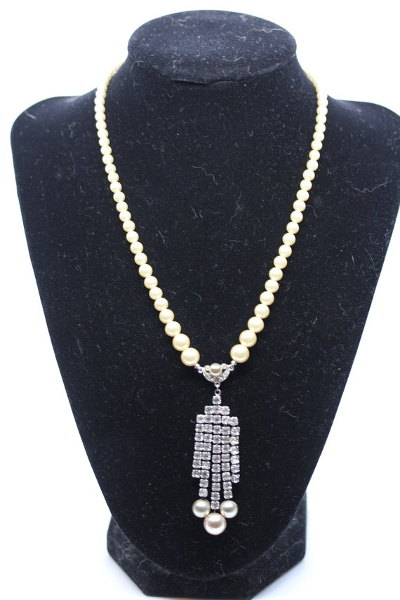 Marvella Faux Pearl and Rhinestone Necklace