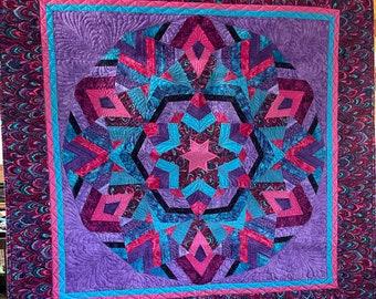 Kaleidescope Purple Custom Quilt