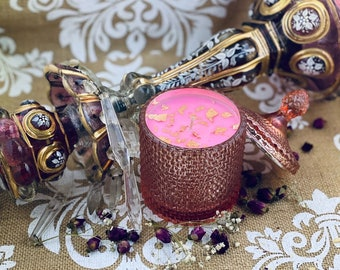 heavenly scented soy wax candle, beautiful rose gold crystal cut jar, rose gold flecks on top. Various scent options available.