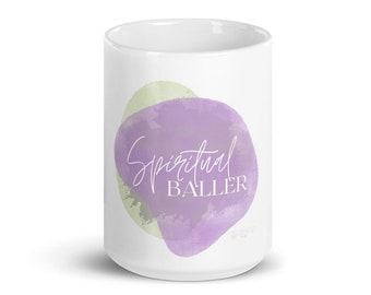 Spiritual Baller white 15oz. glossy mug