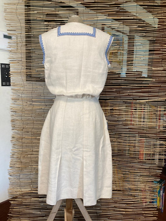 1940s embroidered linen dress - image 4