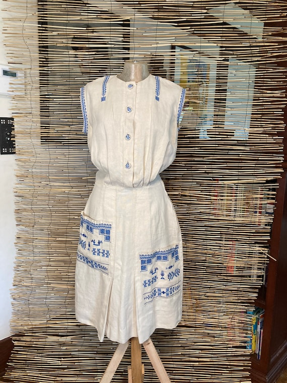 1940s embroidered linen dress - image 1