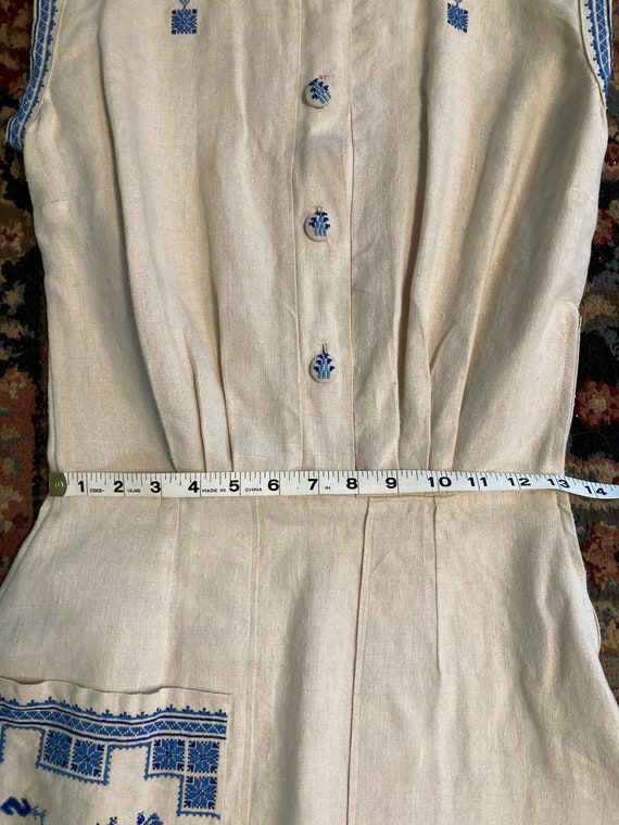 1940s embroidered linen dress - image 7