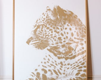 Limited Edition Gold Leopard Print