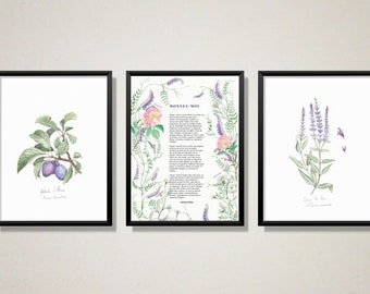 Purple Botanical Illustrations and Poem