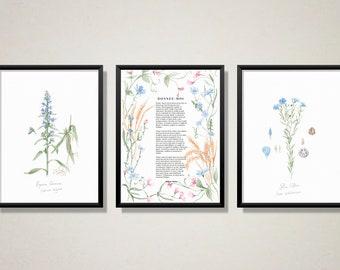 Blue Botanical Illustrations and Poem