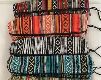 Handmade cotton pencil case, big cotton pencil purse, big cotton pencil bag, boho/hippie/gehry style, made in Nepal,makeup bag