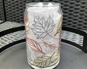Fall Leaves Metallic Glass Can Rose Gold, Gold, Copper, Silver Fall Leaves Coffee Cup