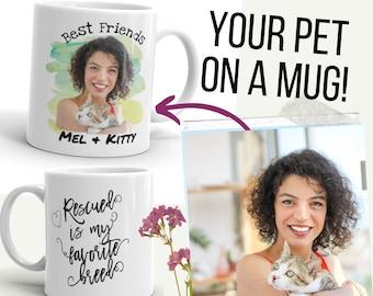 CUSTOM Pet PHOTO MUG, Personalised Cat Photo Mug, Cat Face Mug, Cat Photo Mug, Custom Cat Mug, Watercolour Art Mug, Cat Mom Mug Cat Dad Mug