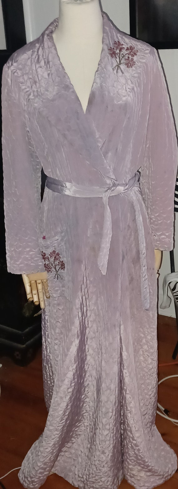 Vintage 40s Hollywood Glam Satin Quilted Robe