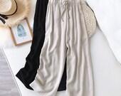 Loose plus size nine-point linen pants elastic waist casual straight-leg Zen wide-leg pants