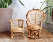 Set of 2 Vintage Wicker Chair Plant Stands