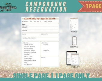 RV Campgrounds Reservation One Page Printable Travel Journal Page   Printable Page   RV Digital Planner  Page for Goodnotes, Noteshelf, etc